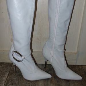 White mid calf boot